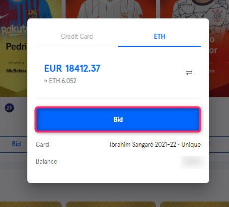 Sorareでカードを購入する手順3